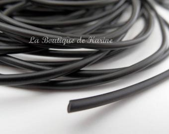 "3 M of cord rubber full ""buna cord"" ø 2 mm black - creating jewelry beads"