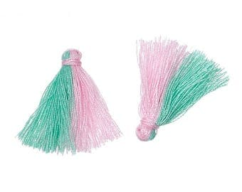 SET of 3 charms TASSELS TASSELS pink and green 25 mm - creating jewelry beads