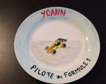 """child's plate """"formula 1 driver"""" customized"""