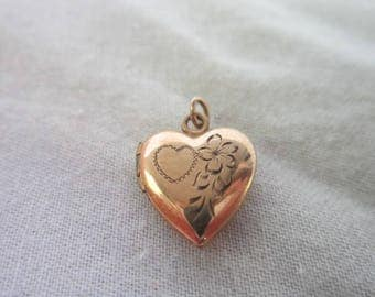 Antique Gold Filled Engraved Puffy Heart Photo Locket Necklace Pendant or Charm