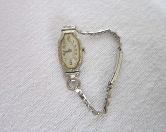 Antique Tavannes 18 K Solid White Gold Ladies Wristwatch 16 Jewel  Super