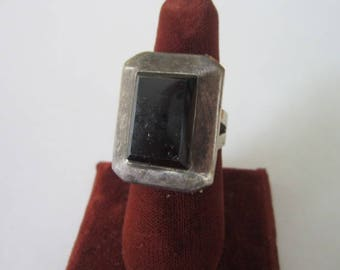 Antique Large Sterling Silver & Black Onyx Stone Taxco Ring