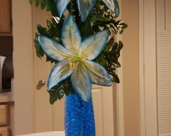 Etched glass,  flower bouquet