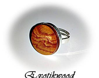 With rosewood solid 925 sterling silver Adjustable ring