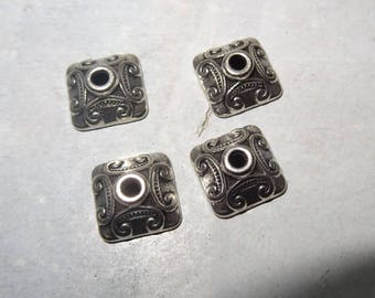 4 cups square silver-plated, 10x10x4mm beads.