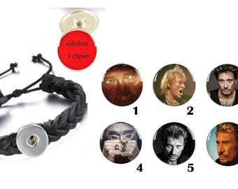 Bracelet with 1 or more under Johnny Hallyday glass dome cabochons