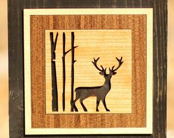 Deer in the Trees - Lasercut Wood Wall Art Block