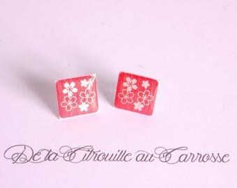 Cherry blossoms, white and Red ear studs