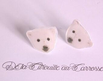 Polar bear ear studs
