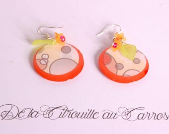Earrings round orange, multicolored circles, yellow flowers