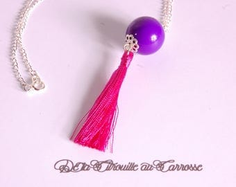 Violet fuchsia and Pearl tassel necklace
