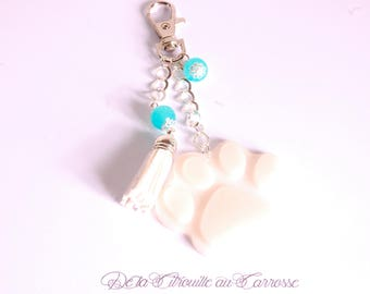 Bag turquoise white cat paw charm