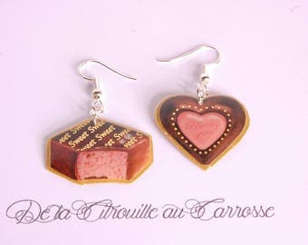 Chocolate filled Strawberry and heart earrings