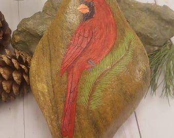 Cardinal on Stone-Sgl Hemlock/Male Cardinal Art/Cardinal Painting/Red Bird Painting/WildlifeArt/Painted Rock/HomeDecor/Bird Decor/UniqueGift