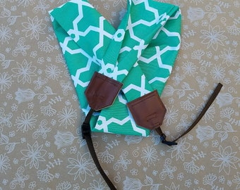 Green and White dSLR Camera Strap, Heavy Weight Fabric, Fabric Camera Strap, Photagraphy