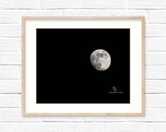 Moon Print, Wall Art, Night Photography, Black and White Photo, Night Sky print