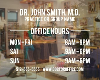 Doctor's Office Business Hours - Store & Window Decal