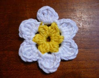 yellow and white, cotton applique flower crochet flower