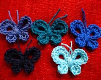 set of 5 crochet cotton fabric, butterfly applique butterflies