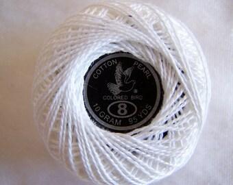 Crochet beaded, white, cotton