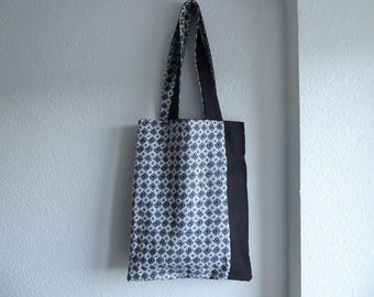 Graphic black and grey patterned cotton tote bag