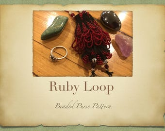 Ruby Loop Hanging Beaded Purse PATTERN ONLY Knitted Minature Bag for Tooth Fairy Crystals Jewlery or Purfume Pouch