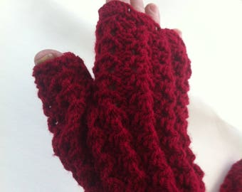 Fingerless gloves Burgundy acrylic soft and warm