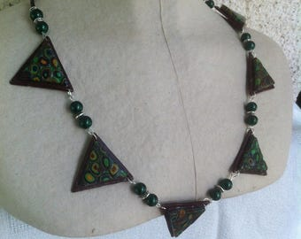 Yellow/brown/green mosaic necklace