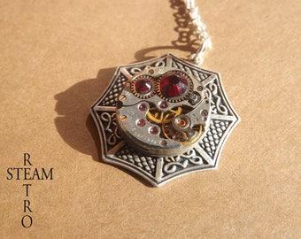 Swarovski red - Steampunk jewelry by Steamretro-Steampunk necklace