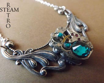 Clockwork Pendant & Emerald Swarovski crystals - jewelry by Steamretro-Steampunk