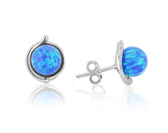 Sterling Silver Stud Earring with 8mm Dark Blue Opals