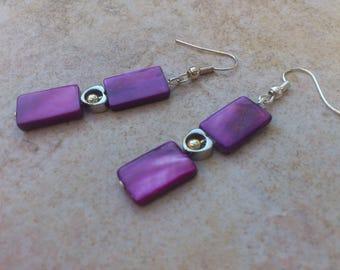 Fuchsia pearl earrings, silver heart