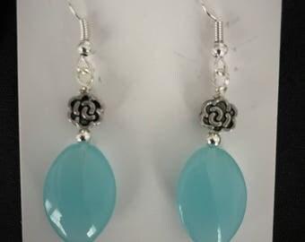 Turquoise Oval Bead Drop Earrings