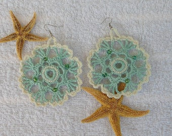 Crocheted pastel green cotton with beads, woman fashion earrings