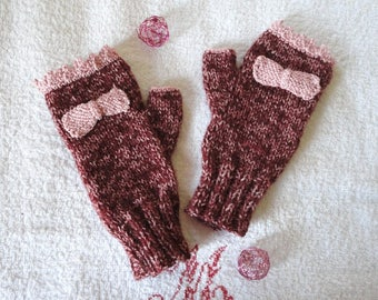 Knitted mittens with thumb woman hand mitt woman, Burgundy rose with bow and pink cotton crochet lace