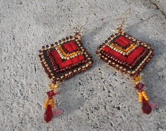 """Embroidered """"classy squares"""" beaded earrings"""