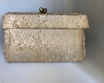 Gold Brocade Purse/Vintage 50's Evening Clutch