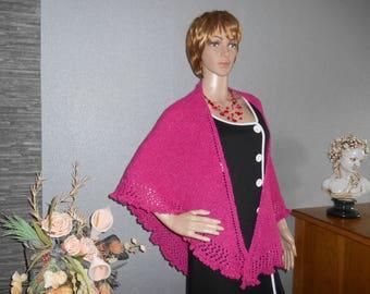 MOSS stitch knitted shawl with a beautiful picot, Fuchsia border