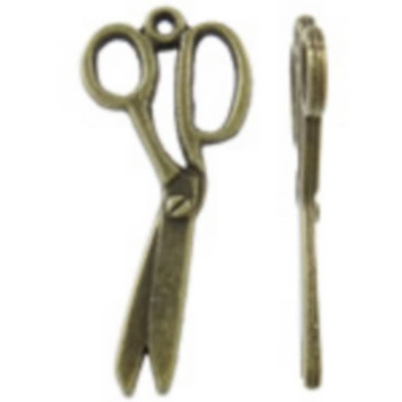"Set of 5 ""Scissors"" bronze charm size 13 x 29, 5 mm"