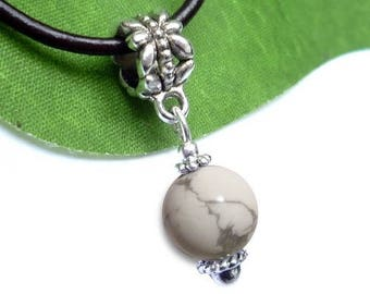 Silver plated sphere pendant - howlite