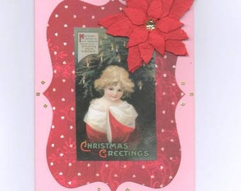 271 young vintage child's best wishes greeting card