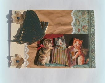 51 - Cats playing the accordion 3d greeting card