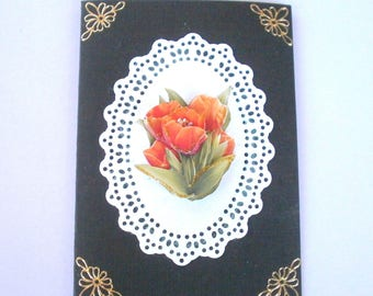 68 3D orange red tulips greeting card