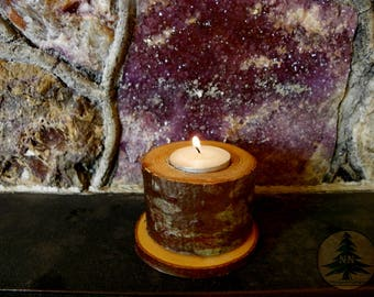 Live Edge Balsam Tree Log Candle Holder - Natural, Rustic, Home and Weddings or Gifts