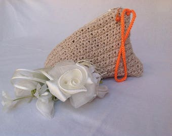 Cotton wrist clutch bag, cosmetic bag, pyramid shape, sand, Pyramid roof case, beauty case