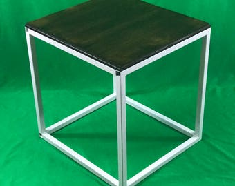 Industrial stained wood top end table