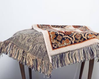 Vintage table runner with tassels, Retro House decoration, sixties
