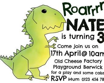 Customised Dinosaur Invitations - digital diy printable