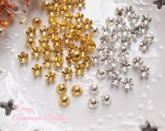 20/50pcs Brass Flower Petal Bead Caps// 5 Petals// Gold, Silver Plated