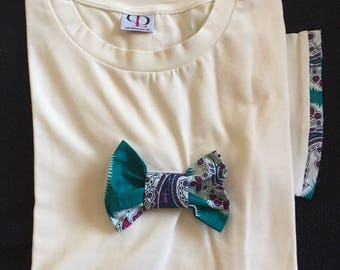 T-shirt White turquoise bow